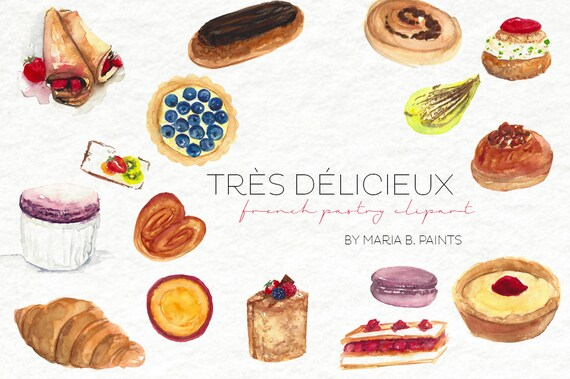 watercolor clip art french pastry personal use instant rh etsy com French Bakery Signs Bakery Clip Art Borders