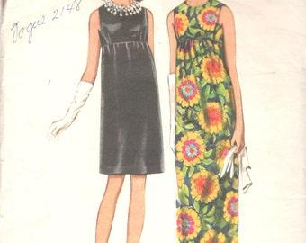 Butterick 4734 1960s Misses Empire Waist Evening Dress Pattern 2 Lengths Sleeveless Size 12 Bust 34 Womens Vintage Sewing Pattern Uncut