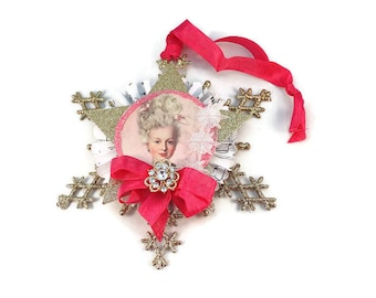Christmas Tree Ornament, Marie Antoinette, Snowflake, Package Topper,  Christmas Ornament, Christmas Decor, Christmas Decoration, Handmade