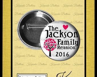 "Family Reunion Pins, 2.25"" Family Reunion Buttons, Heart Family Tree, Family Reunion Souvenir, Party Favors, Family Vacation Souvenir"