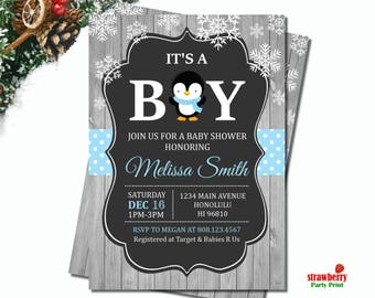 Penguin Baby Shower Invitation, Winter Baby Shower Invitation Boy, Snowflake, Rustic Chalkboard, Customize Printable Invitation, C51