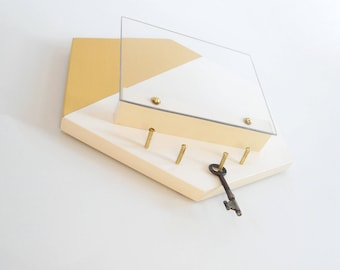 MODERN MAIL HOLDER: Hexagon Gold and Cream Geometric Minimal Wall Mount Mail Holder with Lucite PlexiGlass and Brass Key Hooks