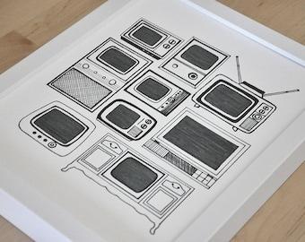 Vintage Television Sets Illustration 11x14in