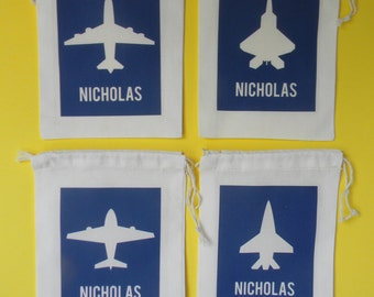 Airplane Party Bags, Airpline Favor Bags, Airplane Personalized Favor Bags, Airplane Favor Bags, Airplane Birthday Party Favors