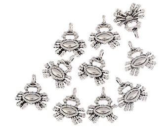 10 27 X 23 mm silver plated crab charm