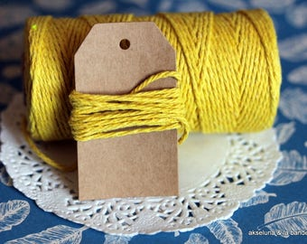 Yellow packaging twine 10m, coton twine, yellow string, gift yellow string