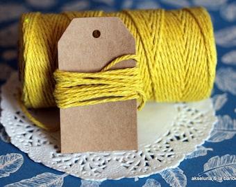 Ficelle coton monochrome, ficelle jaune 10 m, ficelle emballage, paques, décorations
