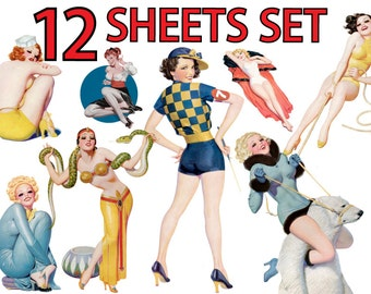 Pin Up Girl vol.16 Transparent Clip Art Set of 12 Vintage Printable Digital Collage Sheets Clipart Download Image Pin-up Iron on Fabric