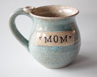Wheel thrown Mom Mug, Ready to Ship, Light Pale Blue and oatmeal