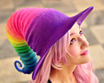 "Costume Hat. ""Rainbow"" Witch Hat. Wizard Hat. Fantasy Hat. Cosplay Hat. LARP."