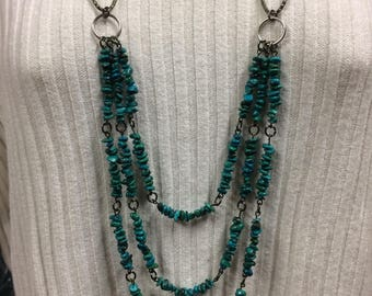 Turquoise necklace, multi-strand necklace, rock bead necklace, Turquoise jewelry, Statement necklace