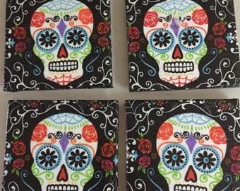 4pc Sugar Skull Tile Coaster Set