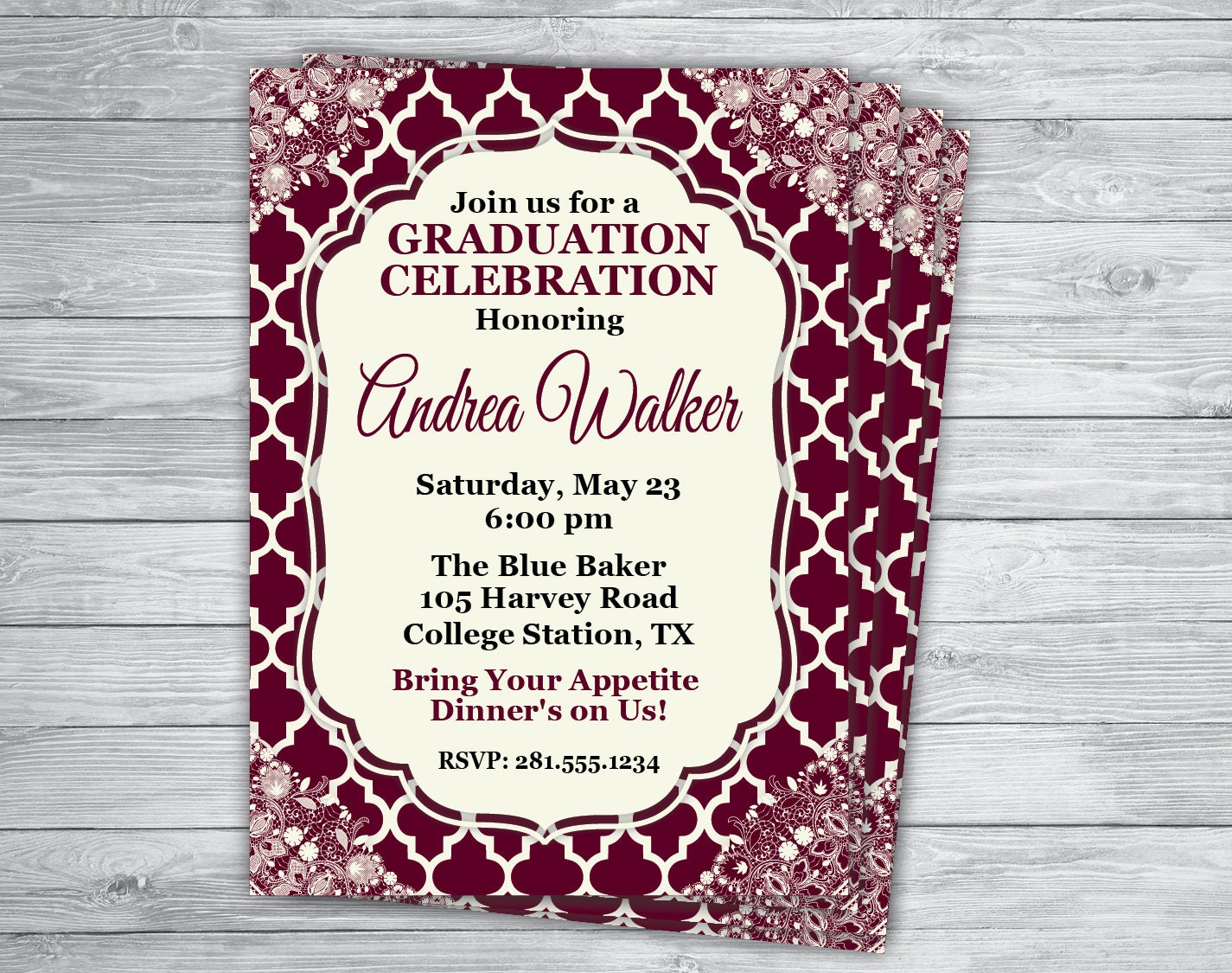 Any Event/Color MAROON AGGIE GRADUATION Announcement Texas A &