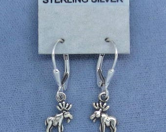 Sterling Silver Teeny Tiny Mini Moose Earrings - Leverback - Forest - Woods - Nature - Hiking - Mountains - West - Maine - North -150556