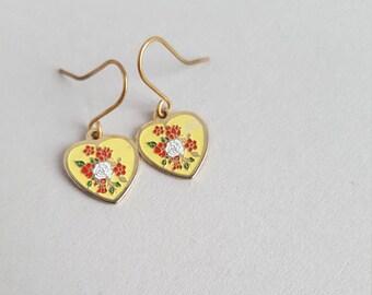 Vintage enamel heart earrings