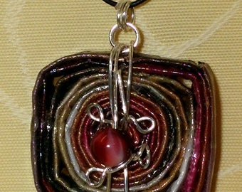 Julia pendant with paper bead and silver wire