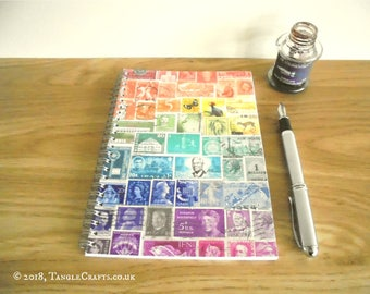 Spiral Address Book & Birthday Book | Rainbow A5 A-Z Index Book | Multicolour Postage Stamp Print | Stamp Art Office Gift for Letter Writer