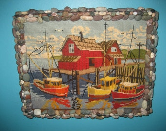 Rock Framed Embroidered Boat Dock Scene