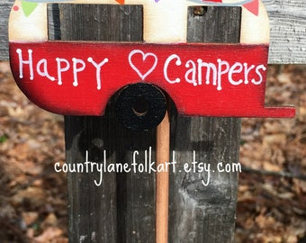 vintage camper, happy camper, plant pokes, camper plant stick, camper decor, hand painted wooden camper, plant decorations, mothers day gift