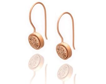 Druzy Drop Earrings - Rose Gold Druzy in Rose Gold - Druzy / Drusy Quartz Earring - 24k Rose Gold Vermeil - Round Druzy Drop Earring