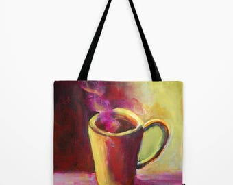Coffee Cup Tote Bag Large 18 x 18 Market Shopping Bag w. Painting of Mug in Yellow Pink & Brown, Seattle Java Shoulder Bag Gift for Barista
