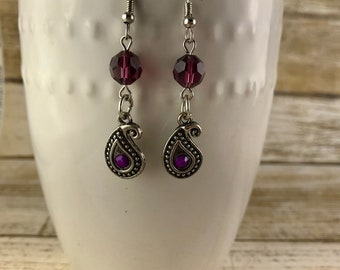 Purple Paisley Dangle Earrings / Plum Purple Earrings with Crystal and Paisley Charm / Boho Purple Dangle Earrings