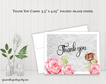 Thank You Notes, Thank You Cards, Stationery Cards, Bridal, Vow Renewal, Birthday, Digital, Printable TY614