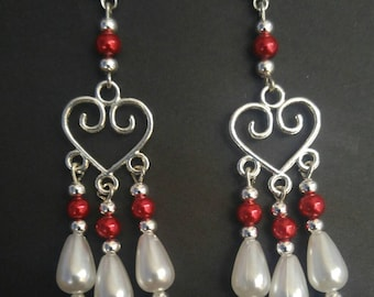 Red Heart Chandelier Dangle Earrings