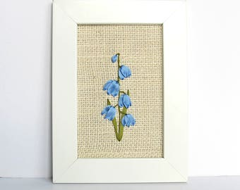 Embroidered silk flowers, embroidered bluebells, embroidered daffodils, 5 x 7 framed embroidery, nature lover's home decor, fiber art