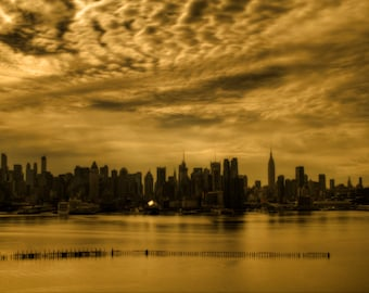 New York City Photograph Manhattan Skyline Silhouette Urban Landscape Photography Empire State Building Art Print Sepia Gold
