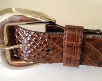 Acme brown faux reptile belt