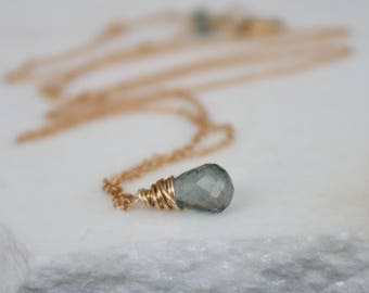 Moss Aquamarine Teardrop Necklace l 14K Gold Filled Chain Necklace l March Birthstone l Green Necklace l Green Gemstone Jewelry