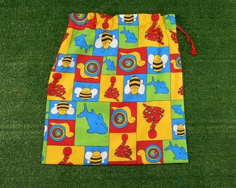 Kids library bag or kindy sheet bag, bright colourful animals, large toy bag