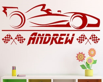 Formula 1 Race Car with Personalized Name   Custom Vinyl Wall Decal for Boys Room