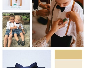 Boys Leather Suspenders And Navy Bow Tie, Boys Suits, Ring Bearer Outfit, Wedding Bow Tie, Baby Boy Bow Tie, Boys Clothes, Boys Suspenders