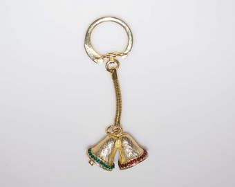 Vintage Christmas Gold Bells with Red & Green Rhinestones Keychain Fob