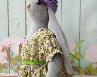 Plush Bunny in Purple Dress Bunny in Green Dress Up Doll Handmade Grey Bunny Doll Plush Rabbit Toy Stuffed Bunny Interior Doll Plush Toy