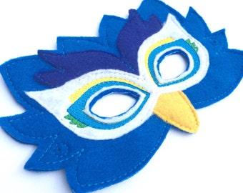 Dramatic  peacock felt mask - dress up - toddler mask - preschool - kid mask - fantasy - whimsical Halloween ideas - gifts for kids