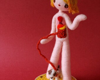 Print: Anatomical Female A with Puppy  - doll anatomy specimen red needle felted felt wall decor art plush toy photograph dog HineMizushima