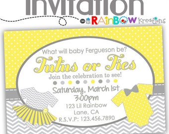 796: DIY - Ties or Tutus Party Invitation Or Thank You Card