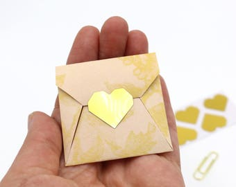 120 Gold Heart Stickers - Geometric Hearts - Gold Foil or Kraft Brown