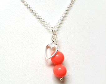 Pink Coral Pendant, Heart Necklace, Sterling Silver Necklace, Pink Coral Necklace, Heart Charm, Coral Jewellery, Love Pendant, Natural Coral