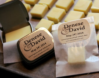 CUSTOM FAVORS: 50 Organic Lotion Bars in Glassine Bags, .25 oz. 50 Shower Favors, Personalized Party Favor, bombonieres