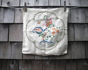"""Small Floral Embroidered Linen Pillow Cover - 13"""" Square - From Vogart"""