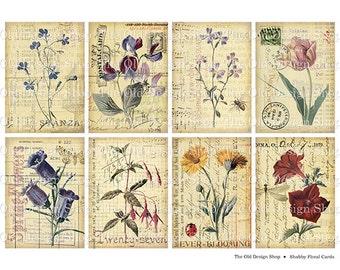 Shabby Floral Botanical Cards Printable ATC Size Digital Collage Sheet