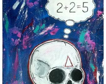 Skull - propaganda - 1984 - archival art print - lowbrow art - 11x14