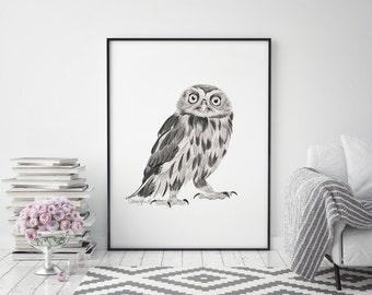 Owl Print, Owl Decor, Owl Gift, Owl Art, Nursery Decor, Living Room Wall Art, Living Room Decor, Large Wall Art, Black and White, Bird Print
