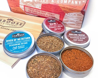 Mens Gift Baskets | Gift for Husband | Gift for Dad | Gift for Him | Surf & Turf BBQ Spices Grilling Gift Set