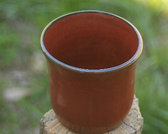 Pottery Cup Red Glaze NC Pottery Rustic Farm Style Pottery