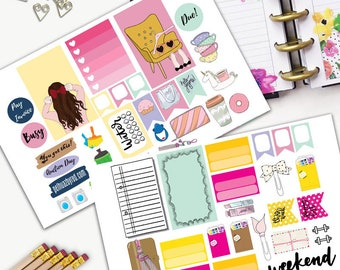 Fashion Girl Bow Theme Planner Weekly Sticker SMALL Kit, CLASSIC Happy Planner Sticker, Weekly Set, Stickers, Printed, Cut, Blonde, Brunette